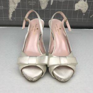 Kate Spade   Sparkly Glitter Heels w Bows   Sz 5